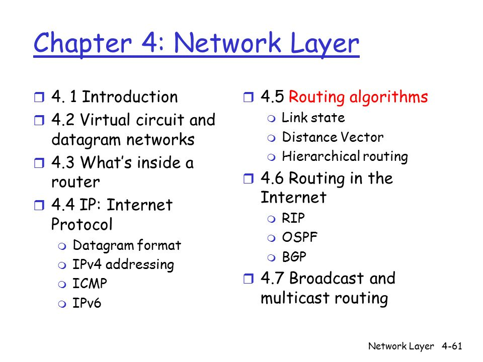Network Layer4-61 Chapter 4: Network Layer r 4.