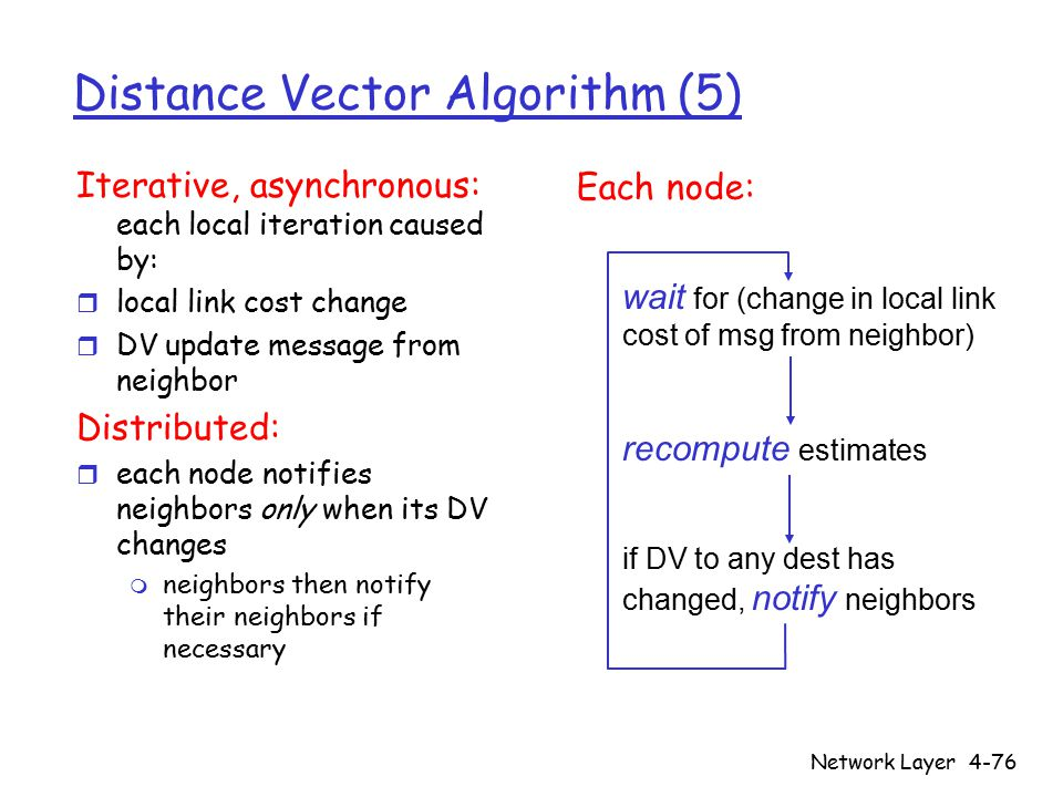 Network Layer4-76 Distance Vector Algorithm (5) Iterative, asynchronous: each local iteration caused by: r local link cost change r DV update message from neighbor Distributed: r each node notifies neighbors only when its DV changes m neighbors then notify their neighbors if necessary wait for (change in local link cost of msg from neighbor) recompute estimates if DV to any dest has changed, notify neighbors Each node: