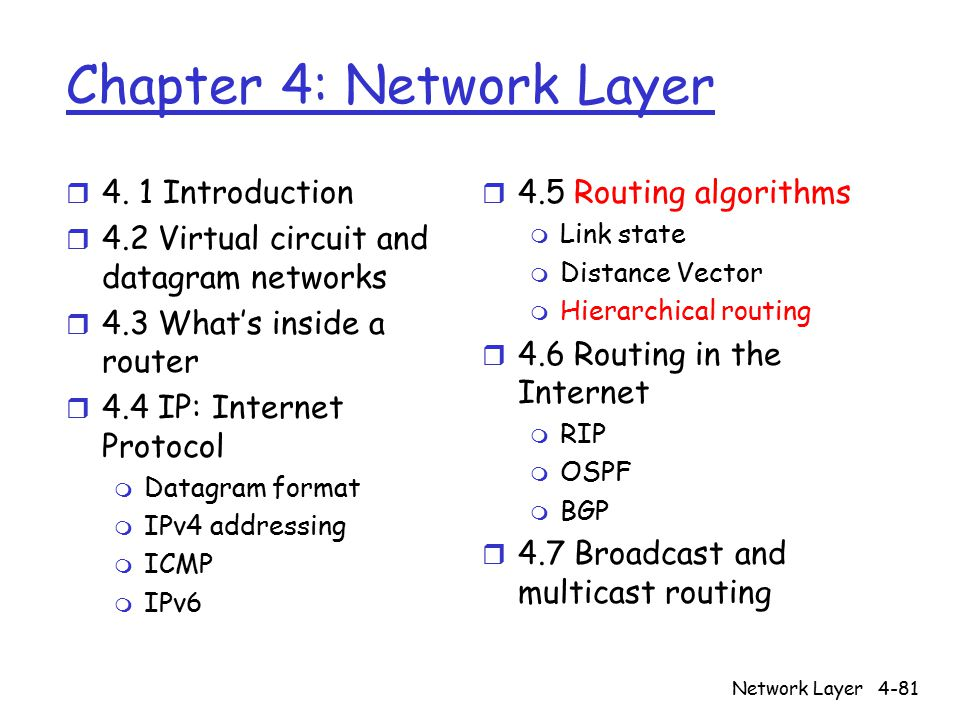 Network Layer4-81 Chapter 4: Network Layer r 4.