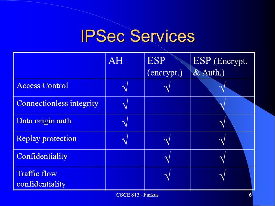 CSCE 813 - Farkas6 IPSec Services AHESP (encrypt.) ESP (Encrypt. & Auth.) Access Control  Connectionless integrity  Data origin auth.  Replay p