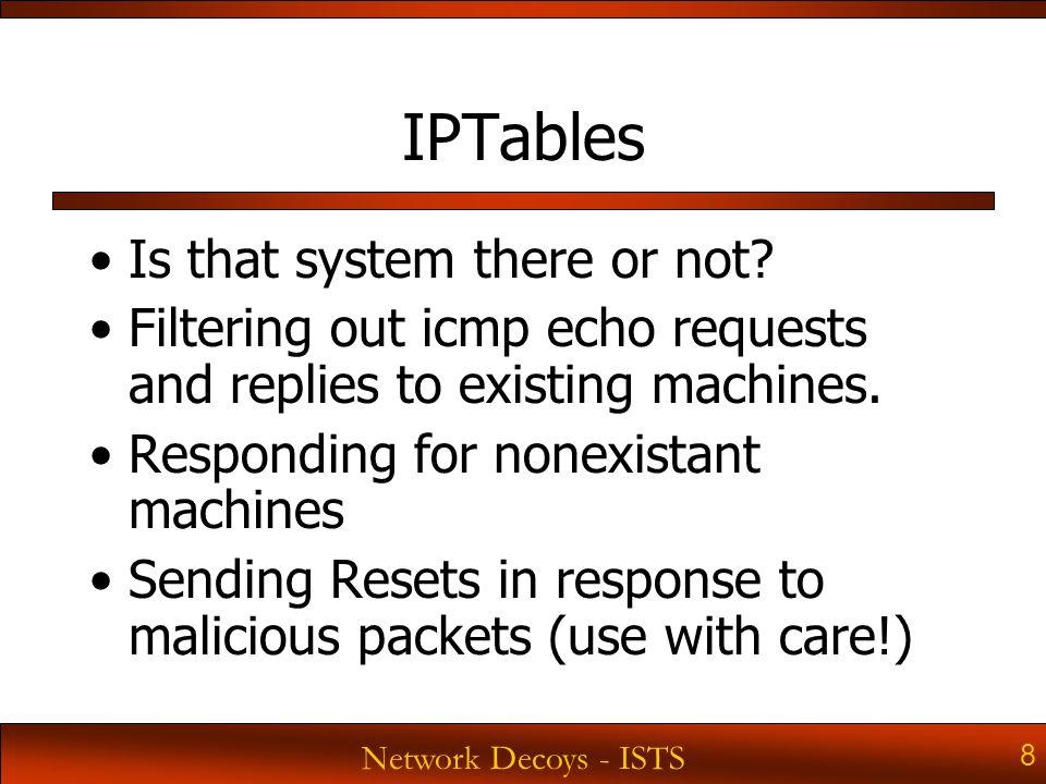 Network Decoys - ISTS 29 Sack OK tcp_sack (default 1) To turn off sacks: echo 0 >/proc/sys/net/ipv4/tcp_sack