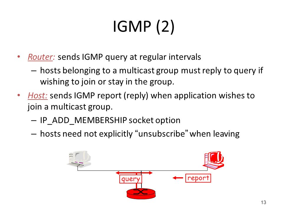 IGMP (2) Router: sends IGMP query at regular intervals – hosts belonging to a multicast group must reply to query if wishing to join or stay in the group.