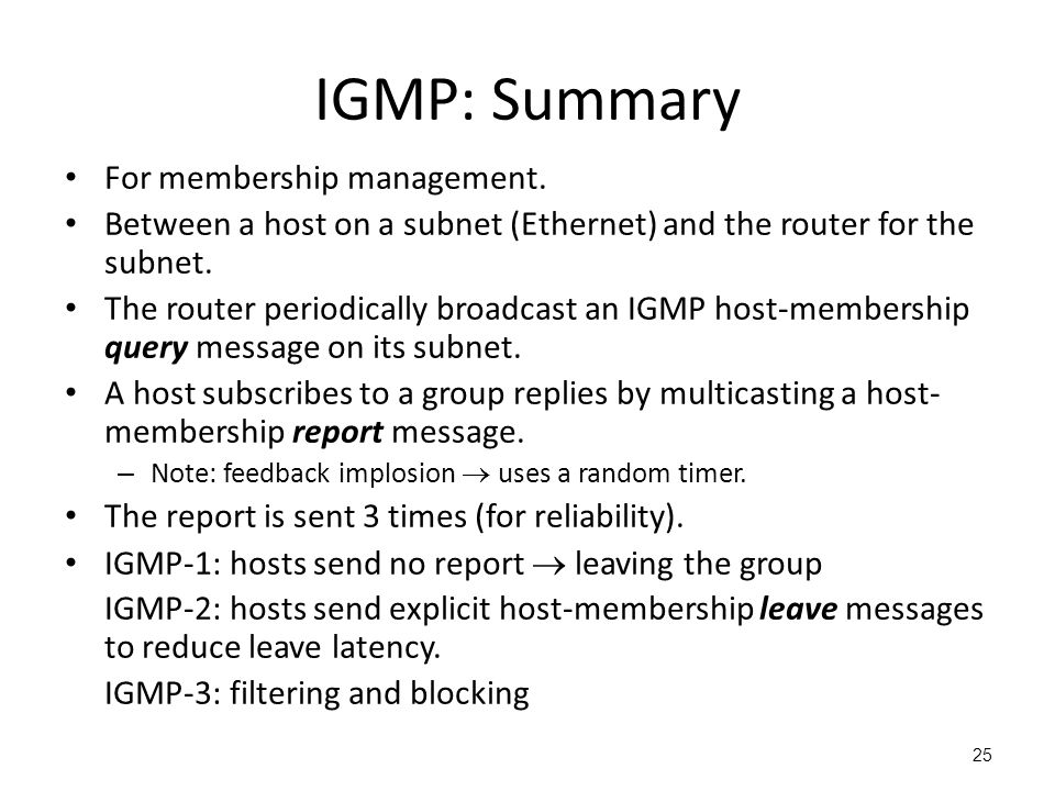 IGMP: Summary For membership management.