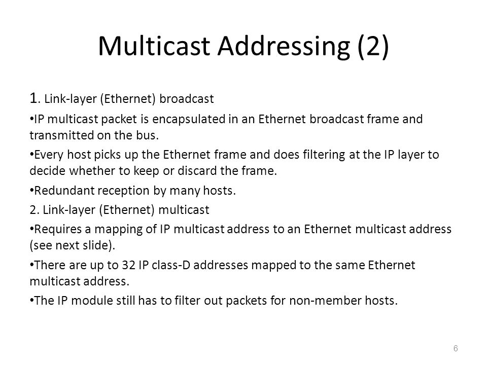 Multicast Addressing (2) 1.