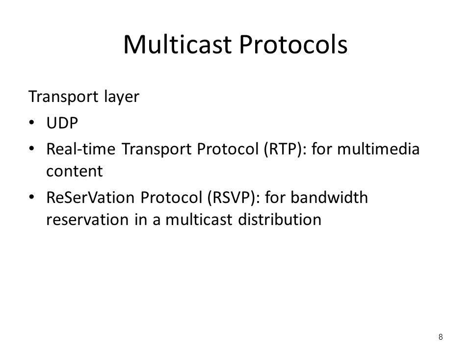 Multicast Protocols Transport layer UDP Real-time Transport Protocol (RTP): for multimedia content ReSerVation Protocol (RSVP): for bandwidth reservat