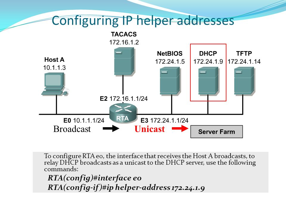 Configuring IP helper addresses To configure RTA e0, the interface that receives the Host A broadcasts, to relay DHCP broadcasts as a unicast to the D