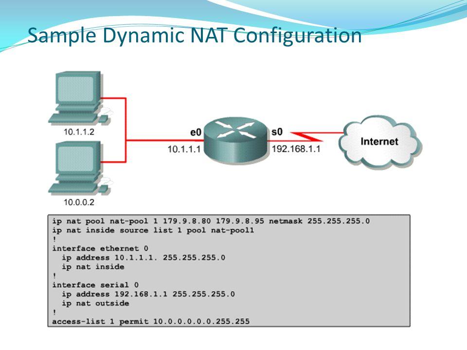 Sample Dynamic NAT Configuration