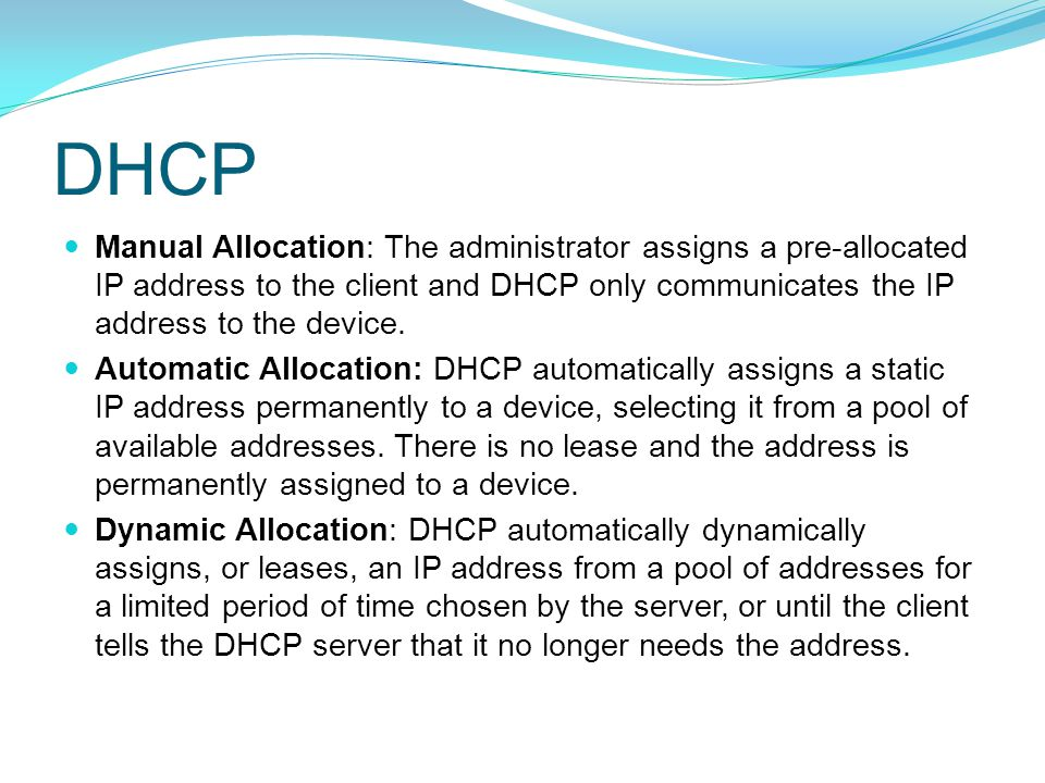 BOOTP and DHCP Both DHCP and BOOTP are client/server based and use UDP ports 67 and 68.