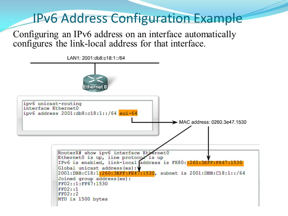 IPv6 Address Configuration Example Configuring an IPv6 address on an interface automatically configures the link-local address for that interface.