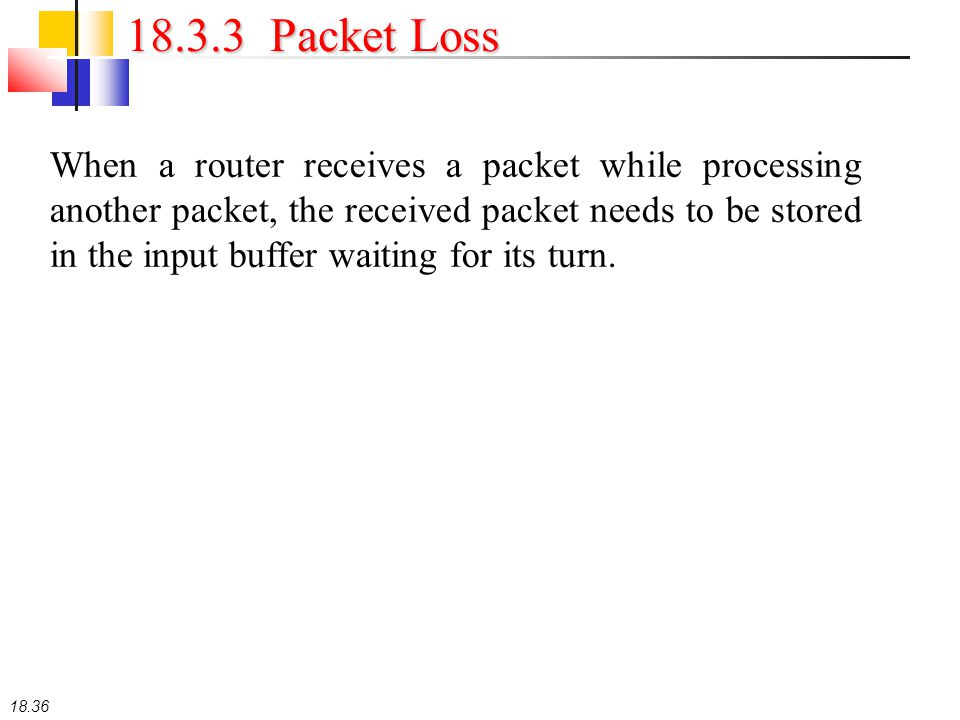 18.36 18.3.3 Packet Loss When a router receives a packet while processing another packet, the received packet needs to be stored in the input buffer w