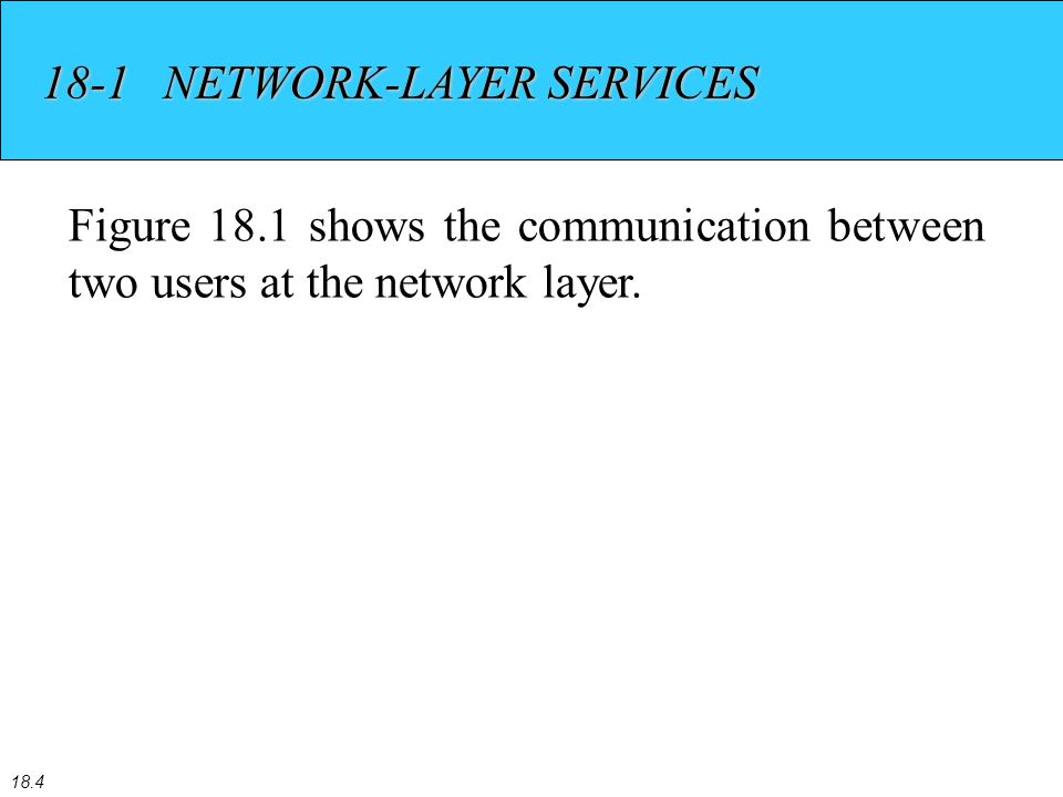 18.4 18-1 NETWORK-LAYER SERVICES Figure 18.1 shows the communication between two users at the network layer.