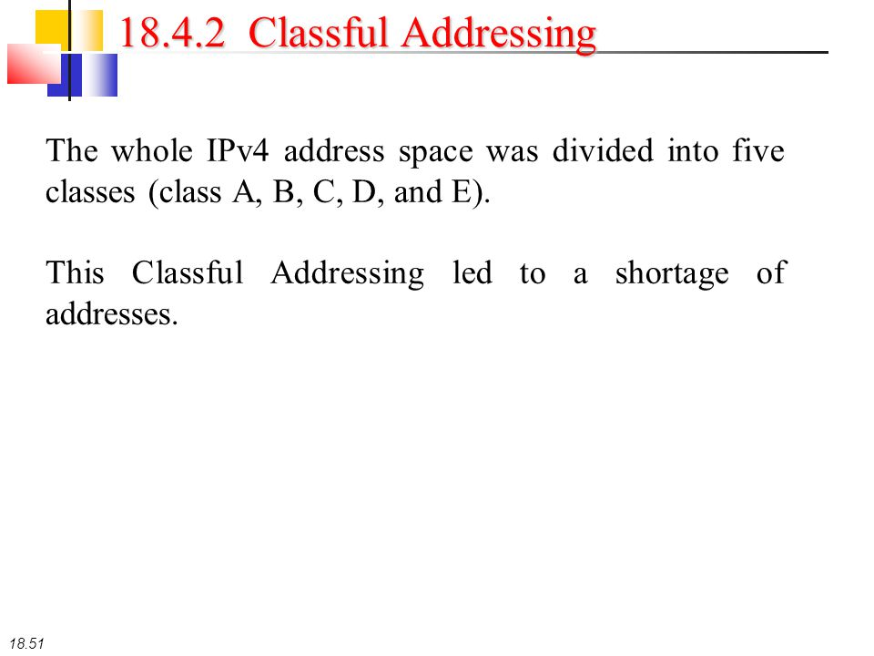 18.51 18.4.2 Classful Addressing The whole IPv4 address space was divided into five classes (class A, B, C, D, and E). This Classful Addressing led to