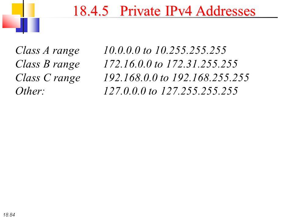18.84 18.4.5 Private IPv4 Addresses Class A range10.0.0.0 to 10.255.255.255 Class B range172.16.0.0 to 172.31.255.255 Class C range192.168.0.0 to 192.