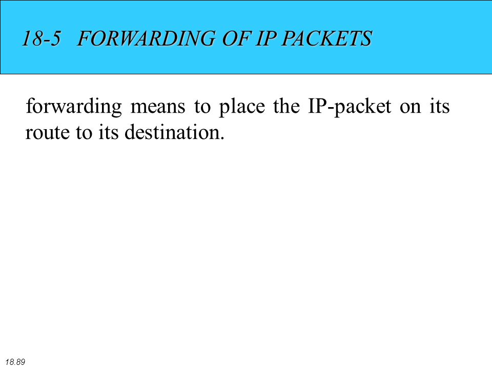 18.89 18-5 FORWARDING OF IP PACKETS forwarding means to place the IP-packet on its route to its destination.
