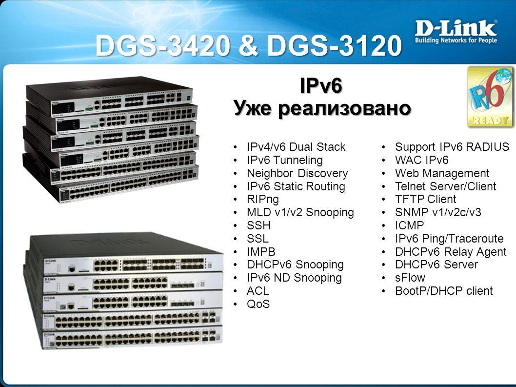 DGS-3420 & DGS-3120 IPv6 Уже реализовано IPv4/v6 Dual Stack IPv6 Tunneling Neighbor Discovery IPv6 Static Routing RIPng MLD v1/v2 Snooping SSH SSL IMPB DHCPv6 Snooping IPv6 ND Snooping ACL QoS Support IPv6 RADIUS WAC IPv6 Web Management Telnet Server/Client TFTP Client SNMP v1/v2c/v3 ICMP IPv6 Ping/Traceroute DHCPv6 Relay Agent DHCPv6 Server sFlow BootP/DHCP client