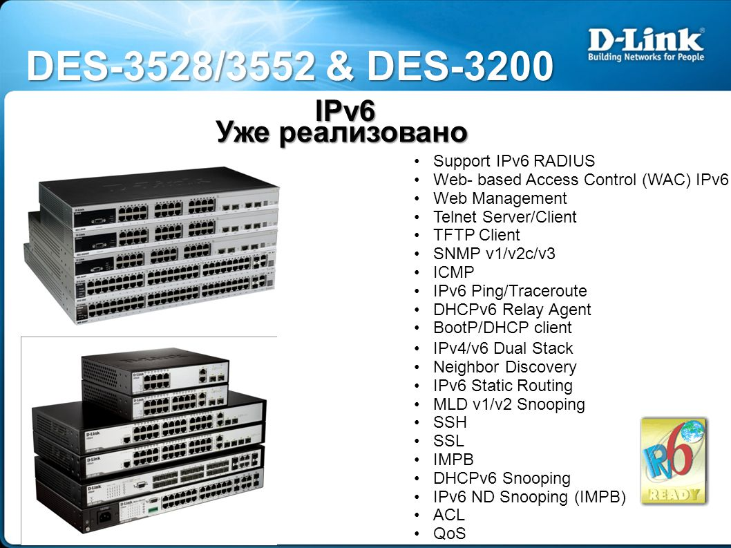 IPv6 Уже реализовано IPv4/v6 Dual Stack Neighbor Discovery IPv6 Static Routing MLD v1/v2 Snooping SSH SSL IMPB DHCPv6 Snooping IPv6 ND Snooping (IMPB) ACL QoS Support IPv6 RADIUS Web- based Access Control (WAC) IPv6 Web Management Telnet Server/Client TFTP Client SNMP v1/v2c/v3 ICMP IPv6 Ping/Traceroute DHCPv6 Relay Agent BootP/DHCP client DES-3528/3552 & DES-3200