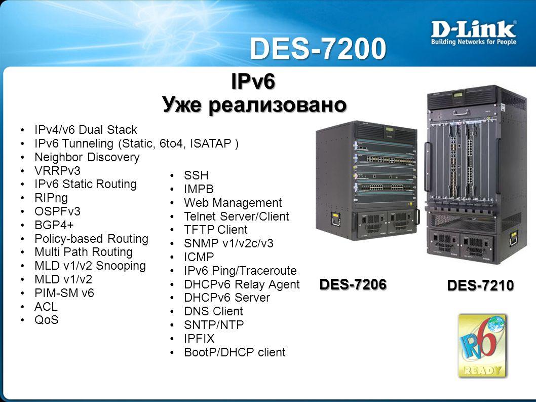 DES-7200 DES-7206 DES-7210 IPv4/v6 Dual Stack IPv6 Tunneling (Static, 6to4, ISATAP ) Neighbor Discovery VRRPv3 IPv6 Static Routing RIPng OSPFv3 BGP4+ Policy-based Routing Multi Path Routing MLD v1/v2 Snooping MLD v1/v2 PIM-SM v6 ACL QoS SSH IMPB Web Management Telnet Server/Client TFTP Client SNMP v1/v2c/v3 ICMP IPv6 Ping/Traceroute DHCPv6 Relay Agent DHCPv6 Server DNS Client SNTP/NTP IPFIX BootP/DHCP client IPv6 Уже реализовано