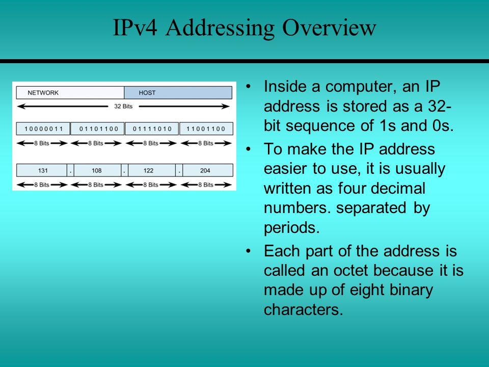 IPv4 Addressing Overview Inside a computer, an IP address is stored as a 32- bit sequence of 1s and 0s.