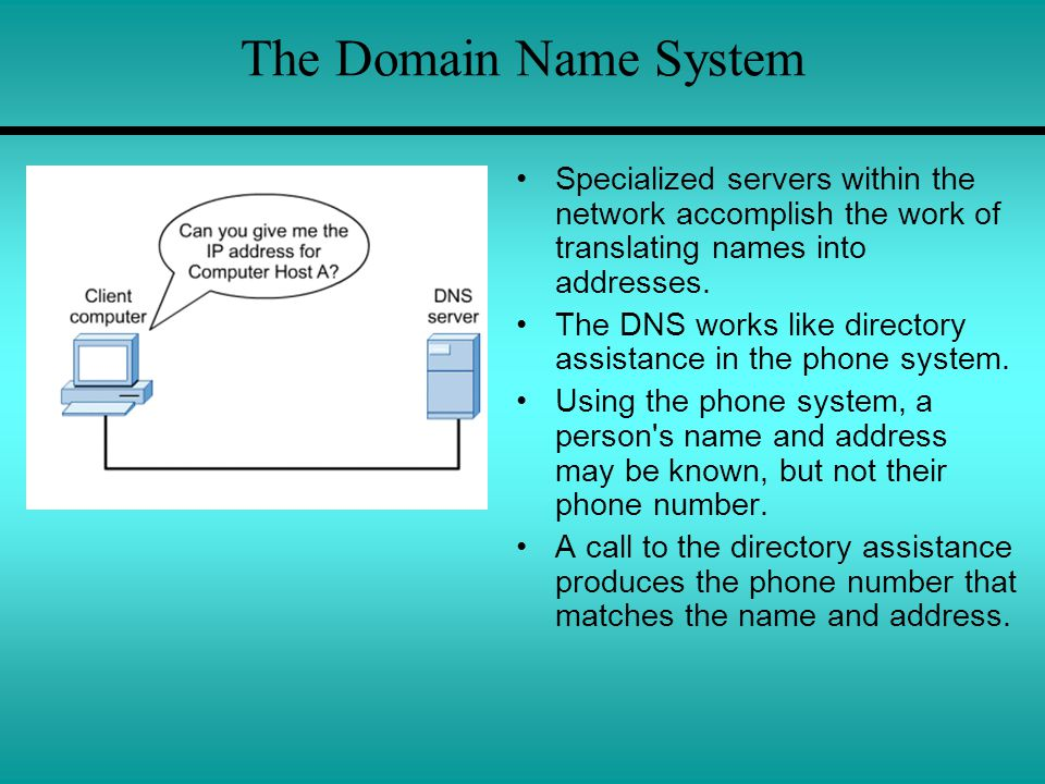 The Domain Name System Specialized servers within the network accomplish the work of translating names into addresses. The DNS works like directory as