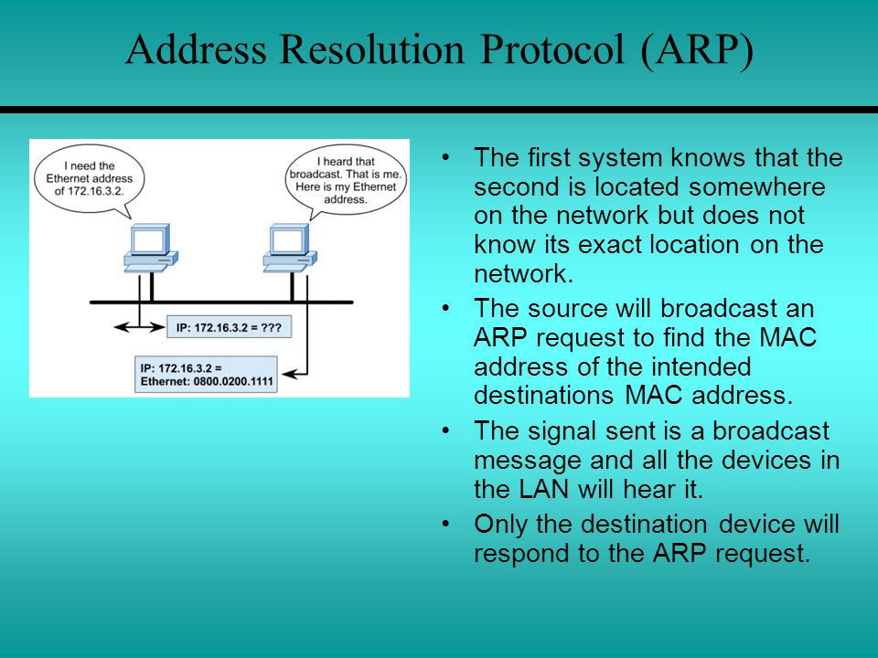 Address Resolution Protocol (ARP) The first system knows that the second is located somewhere on the network but does not know its exact location on t