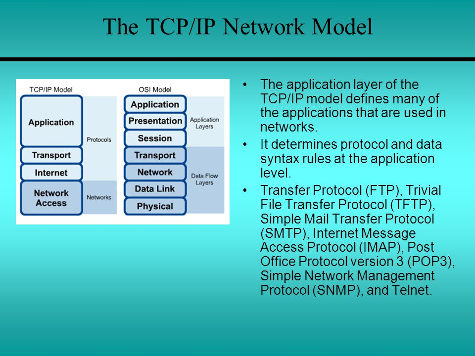 The TCP/IP Network Model The application layer of the TCP/IP model defines many of the applications that are used in networks. It determines protocol