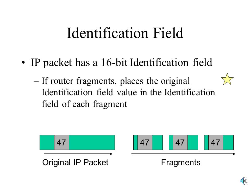 Identification Field IP packet has a 16-bit Identification field –If router fragments, places the original Identification field value in the Identification field of each fragment 47 Original IP PacketFragments
