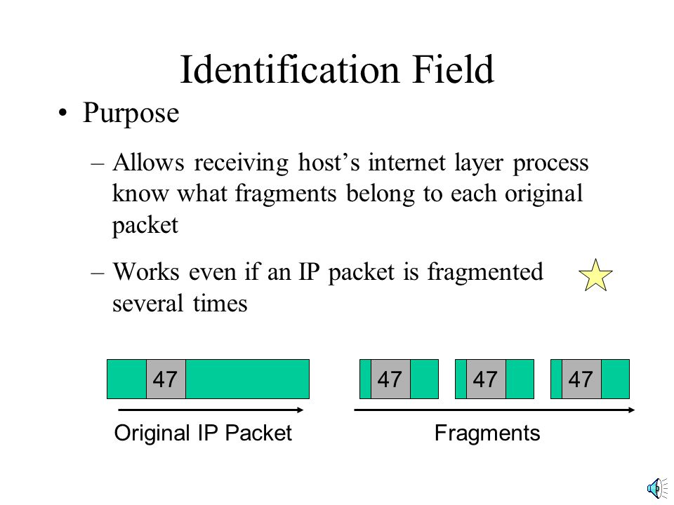 Identification Field Purpose –Allows receiving host's internet layer process know what fragments belong to each original packet –Works even if an IP p