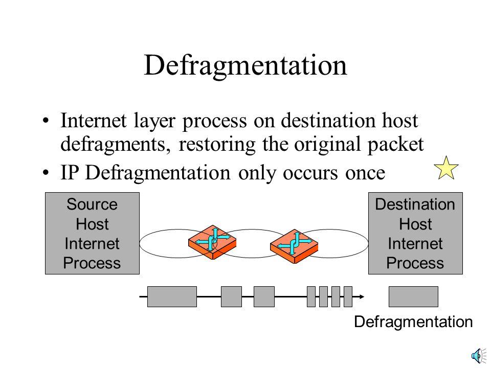 Defragmentation Internet layer process on destination host defragments, restoring the original packet IP Defragmentation only occurs once Destination