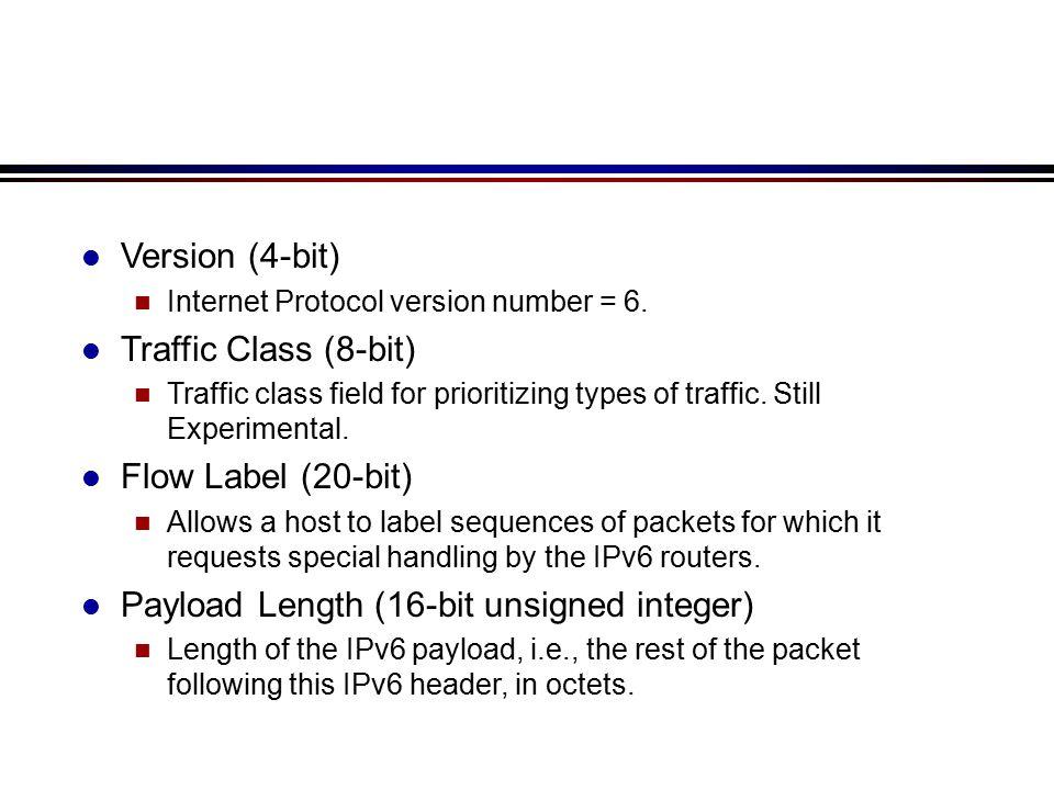 l Version (4-bit) n Internet Protocol version number = 6.