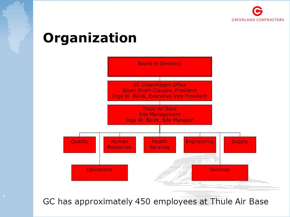 4 Organization GC has approximately 450 employees at Thule Air Base