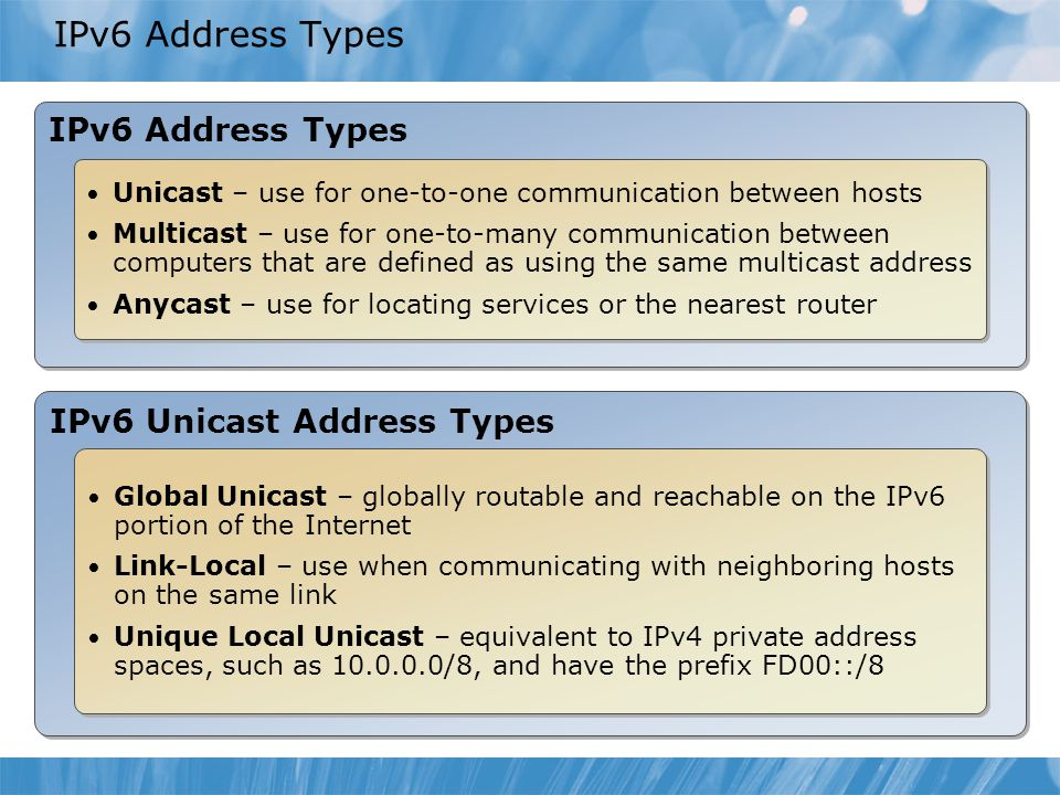 IPv6 Address Types Unicast – use for one-to-one communication between hosts Multicast – use for one-to-many communication between computers that are d