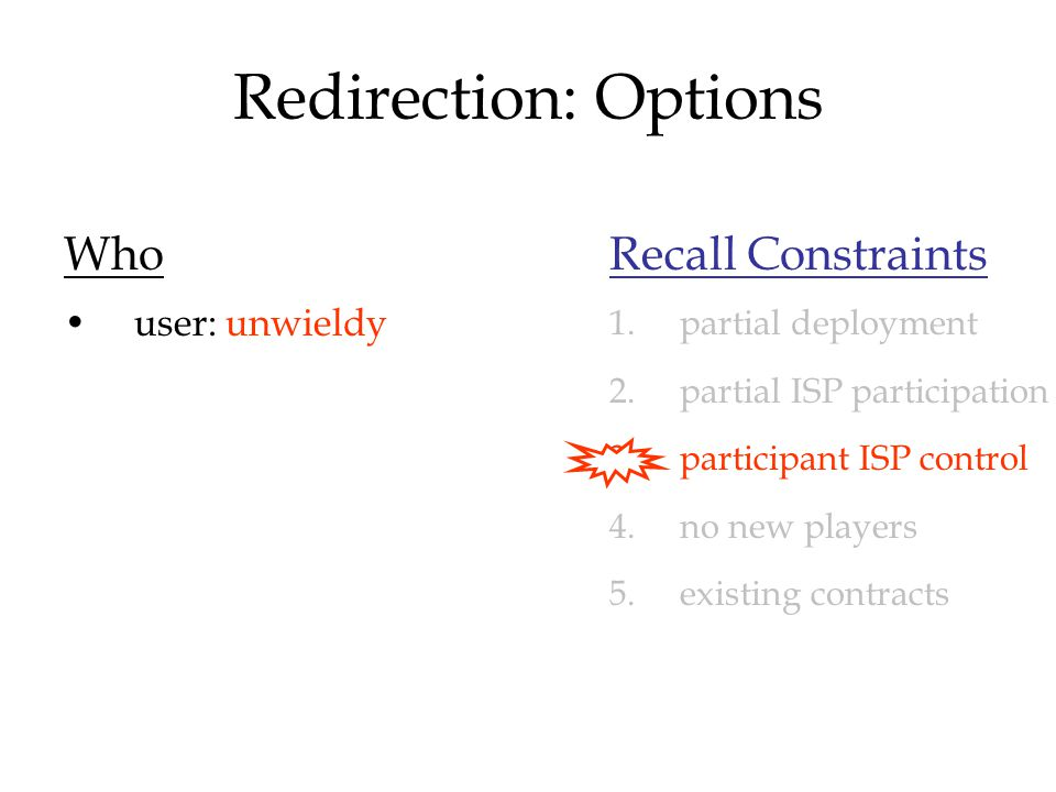 Redirection: Options Who user: unwieldy Recall Constraints 1.partial deployment 2.partial ISP participation 3.participant ISP control 4.no new players 5.existing contracts