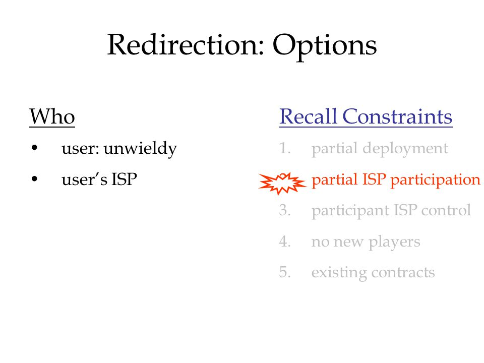 Redirection: Options Who user: unwieldy user's ISP Recall Constraints 1.partial deployment 2.partial ISP participation 3.participant ISP control 4.no new players 5.existing contracts