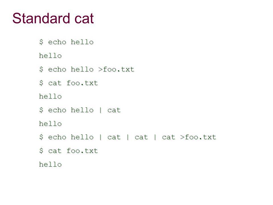 Standard cat $ echo hello hello $ echo hello >foo.txt $ cat foo.txt hello $ echo hello | cat hello $ echo hello | cat | cat | cat >foo.txt $ cat foo.txt hello