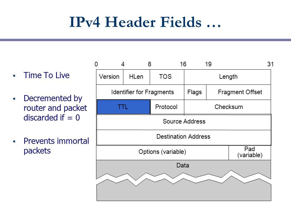 IPv4 Header Fields …  Time To Live  Decremented by router and packet discarded if = 0  Prevents immortal packets VersionHLen TOSLength Identifier f