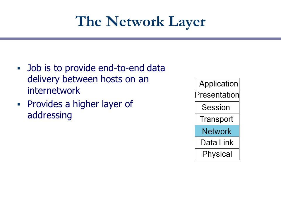 The Network Layer  Job is to provide end-to-end data delivery between hosts on an internetwork  Provides a higher layer of addressing Physical Data Link Network Transport Session Presentation Application