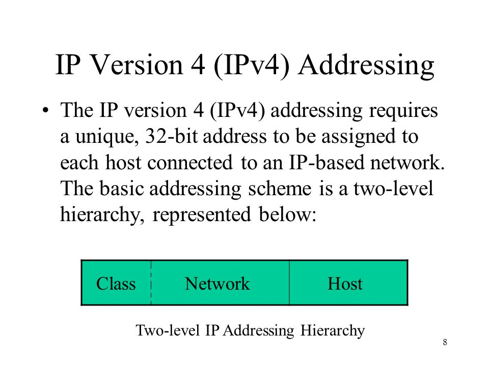 8 IP Version 4 (IPv4) Addressing The IP version 4 (IPv4) addressing requires a unique, 32-bit address to be assigned to each host connected to an IP-based network.