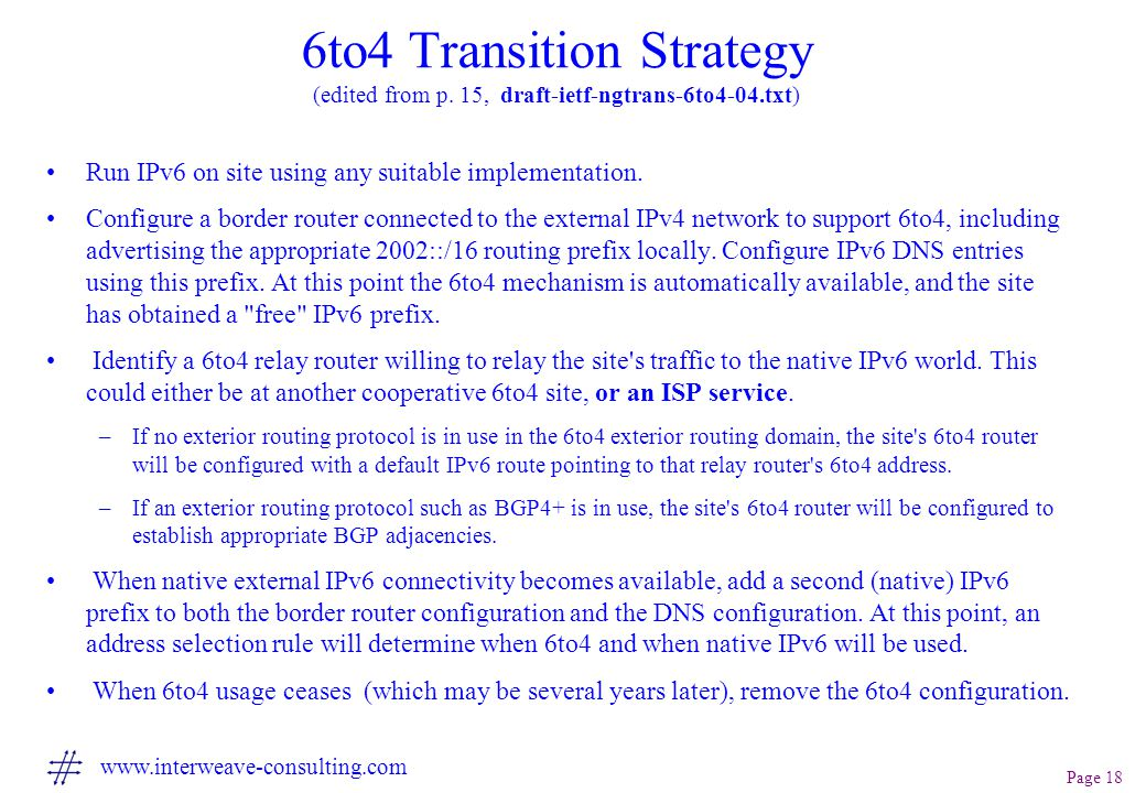 Page 18 www.interweave-consulting.com 6to4 Transition Strategy (edited from p.