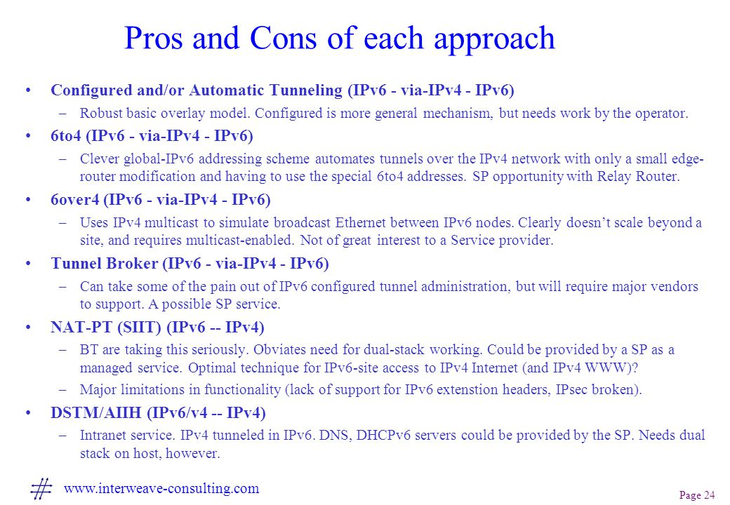 Page 24 www.interweave-consulting.com Pros and Cons of each approach Configured and/or Automatic Tunneling (IPv6 - via-IPv4 - IPv6) –Robust basic overlay model.