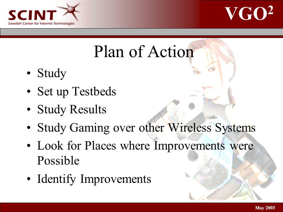 VGO 2 May 2003 Plan of Action Study Set up Testbeds Study Results Study Gaming over other Wireless Systems Look for Places where Improvements were Possible Identify Improvements