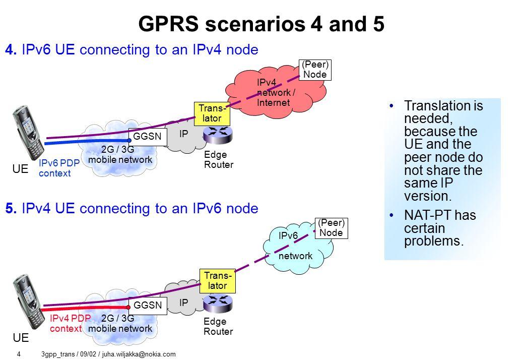 4 3gpp_trans / 09/02 / juha.wiljakka@nokia.com GPRS scenarios 4 and 5 5.