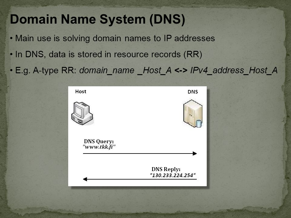 Domain Name System (DNS) Main use is solving domain names to IP addresses In DNS, data is stored in resource records (RR) E.g.