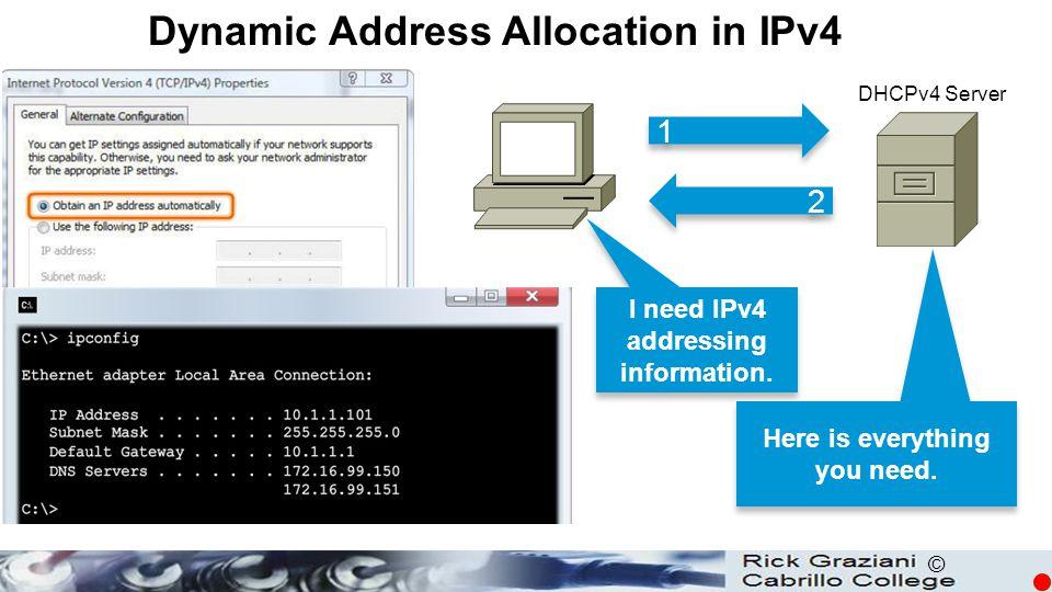 © Dynamic Address Allocation in IPv4 DHCPv4 Server 1 1 2 2 I need IPv4 addressing information.