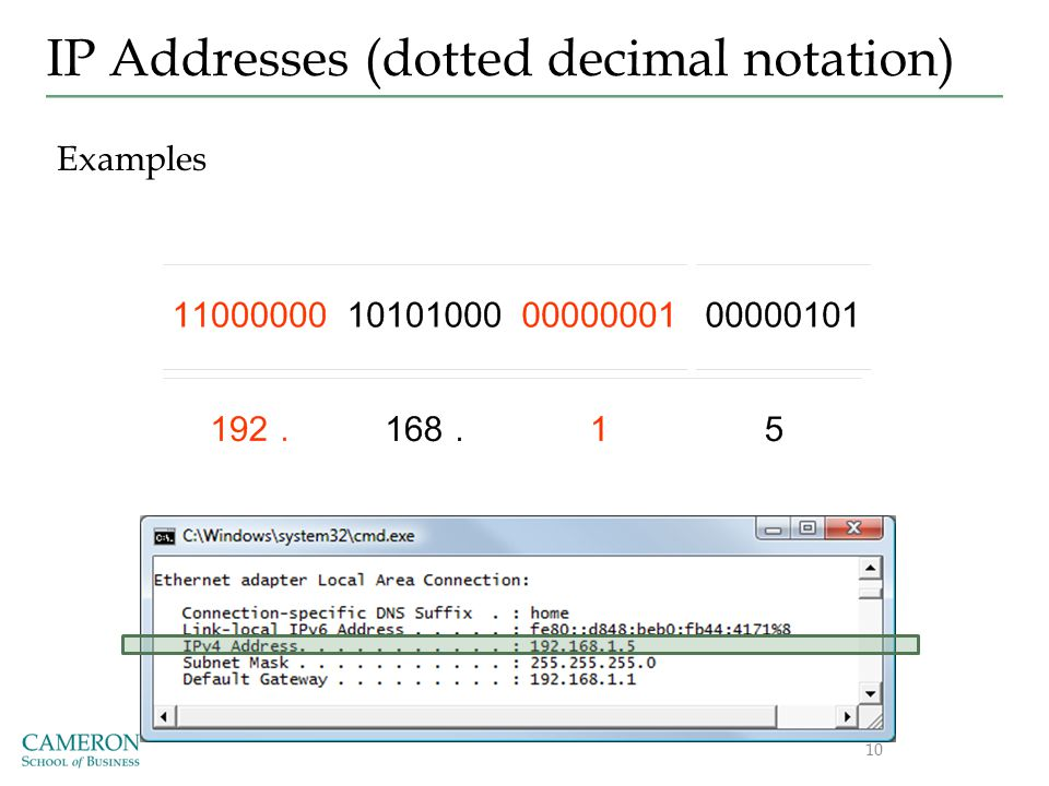 IP Addresses (dotted decimal notation) Examples 10