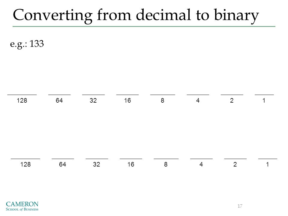Converting from decimal to binary 1286432168421 17 e.g.: 133 1286432168421