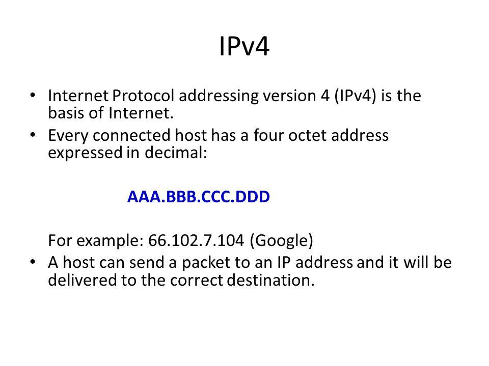 IPv4 Internet Protocol addressing version 4 (IPv4) is the basis of Internet.