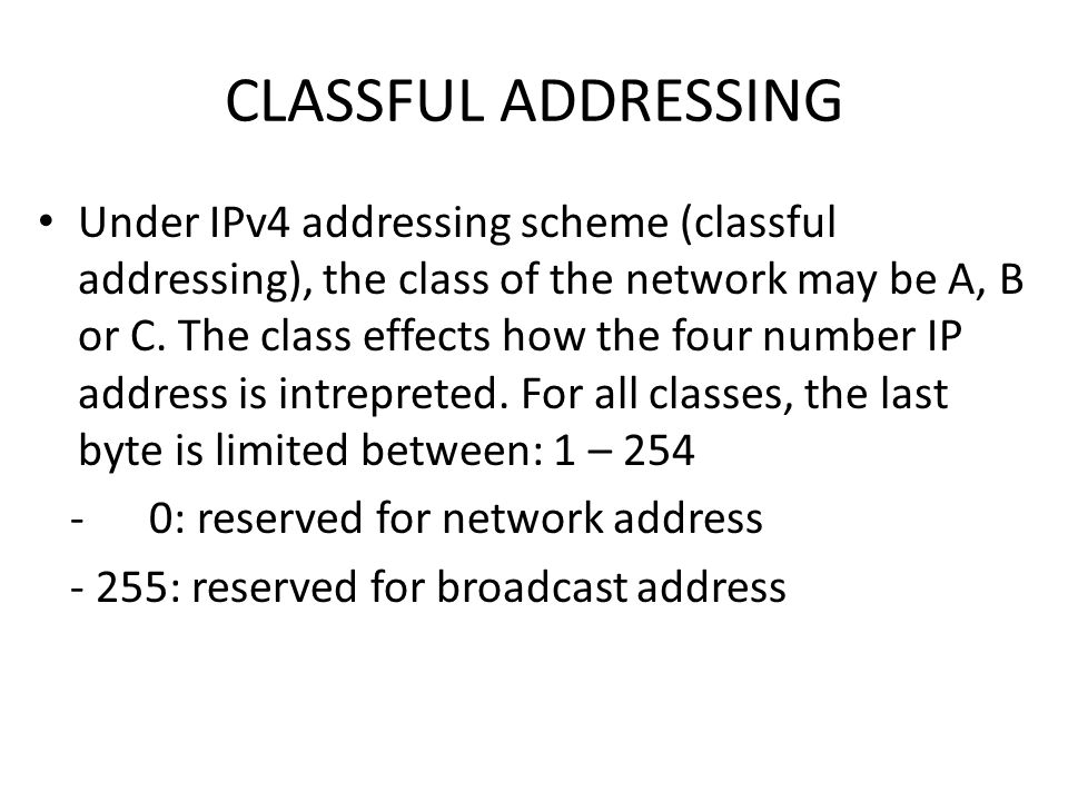 CLASSFUL ADDRESSING Under IPv4 addressing scheme (classful addressing), the class of the network may be A, B or C.