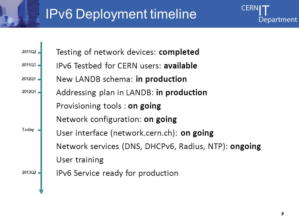 9 IPv6 Deployment timeline Testing of network devices: completed IPv6 Testbed for CERN users: available New LANDB schema: in production Addressing plan in LANDB: in production Provisioning tools : on going Network configuration: on going User interface (network.cern.ch): on going Network services (DNS, DHCPv6, Radius, NTP): ongoing User training IPv6 Service ready for production 2013Q2 2011Q2 Today 2011Q3 2012Q1