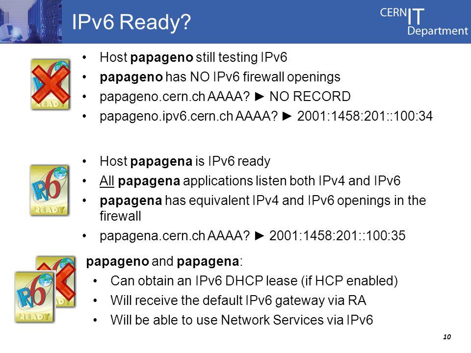 10 IPv6 Ready.